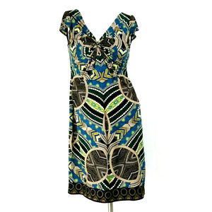 London Times Aztec Geo Cap Sleeve Sheath Dress